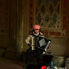 Lady with Accordion - Central Park New York by Miriam Danar