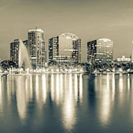 Lake Eola Skyline Sepia Panorama - Orlando Florida by Gregory Ballos