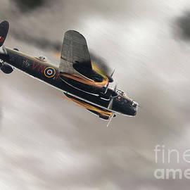Lancaster bomber on fire crashing by Simon Bratt Photography LRPS
