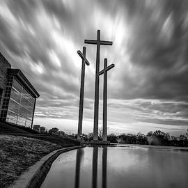Large Crosses Under Amazing Skies - Monochrome by Gregory Ballos