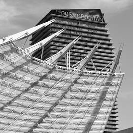 Las Vegas Architectural Lines Cosmopolitan Signage Vertical BW by Thomas Woolworth