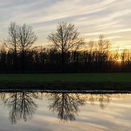 Last Light Brushstrokes - Sunset at a Farm Pond by Georgia Mizuleva