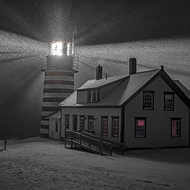 Marty Saccone - Late Night Snow Squall at West Quoddy Head Lighthouse