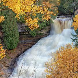 Laughing Whitefish Falls in Autumn in Michigans Upper Peninsula by Craig Sterken