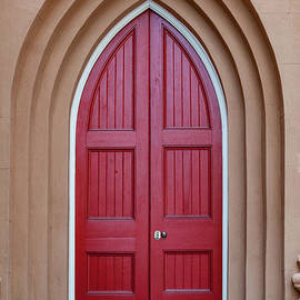 Layers Of Entry - Red Church Door by Dale Powell