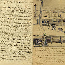 Vincent van Gogh - Letter from Vincent van Gogh to Theo van Gogh with sketch of Snowy Yard