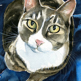 Lexa Tabby Cat Painting by Dora Hathazi Mendes