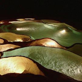 Light Up The Dark - Lit Natural Rock Water Basins In Underground Cave by Menega Sabidussi