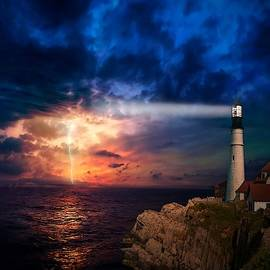 Lighthouse Beam Duskscape With Electrical Storm On The Horizon L A S  by Gert J Rheeders