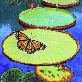 Lily Pads and Butterfly by John Lautermilch