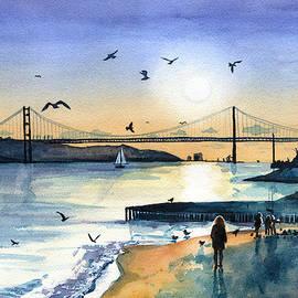 Lisbon 25 Abril Bridge at Dusk by Dora Hathazi Mendes