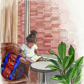 Little Ethiopian Girl Reads A Book Watercolor by Irina Sztukowski