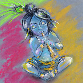 Little Krishna playing the flute by Elena Sysoeva