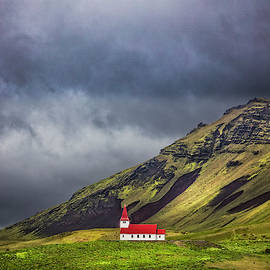 Little White Church with a Red Roof by Debra and Dave Vanderlaan
