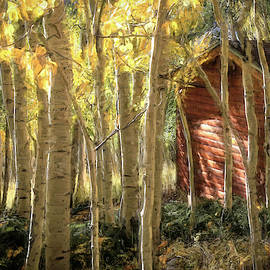 Log Cabin in the Woods by Donna Kennedy