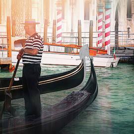 Lone Gondolier Venice Italy  by Carol Japp