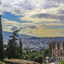 Looking Out Over The Cityscape Of Athens And Over The Odeon Of Herodes Atticus From The Acropolis Ne by Susan Vineyard