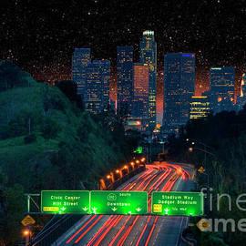 Universal City San Fernando Valley Pano at Night by David Zanzinger