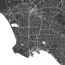 Los Angeles map black and white by Delphimages Photo Creations