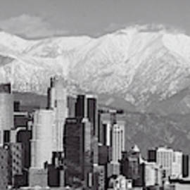 Los Angeles Snow Panorama In Black And White by Lynn Bauer