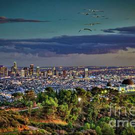 Los Angeles Twilight Cityscape Skyline by David Zanzinger