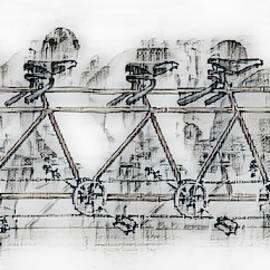 Lots Of Wheels Drawing Sketch by Debra and Dave Vanderlaan