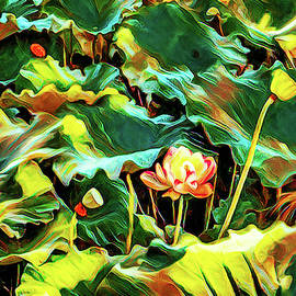 Lotus pond at Grounds for Sculpture in New Jersey lili-art by Geraldine Scull