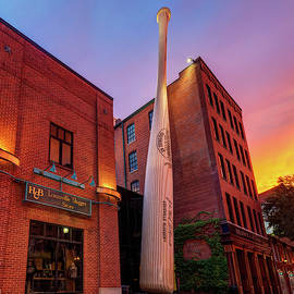 Louisville Slugger At Sunset - Louisville Kentucky Skyline by Gregory Ballos