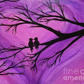 Love Birds Silhouette - Purple by Kathy Carlson