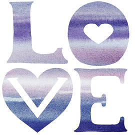 Love Sign Soft Blue Watercolor Silhouette Letters Hea by Irina Sztukowski