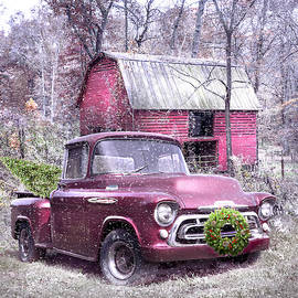 Debra and Dave Vanderlaan - Love that Red 1957 Chevy Truck in the Snow