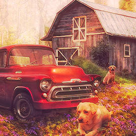 Love that Red Truck at Springtime Postcard  by Debra and Dave Vanderlaan