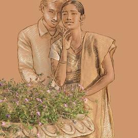 Lovers in the garden by Dominique Amendola