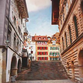 Lucerne Old Town and Kornmarkt Switzerland  by Carol Japp