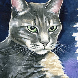 Lucky Gray Cat Painting by Dora Hathazi Mendes