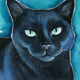 Lucy Black Cat Painting by Dora Hathazi Mendes