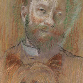 Ludovic Lepic Holding His Dog, 1889 by Edgar Degas