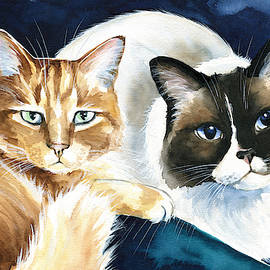 Luna And Leo Cat Painting by Dora Hathazi Mendes
