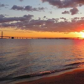 Mackinac Bridge Sunrise Panorama by Keith Stokes