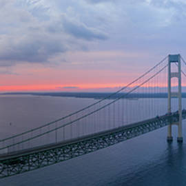 Mackinack Bridge Michigan Dawn Aerial by Steve Gadomski