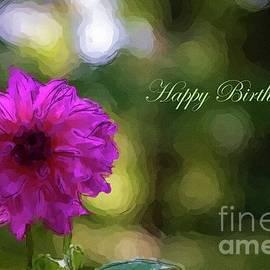 Magenta Dahlia Happy Birthday by Norma Brandsberg