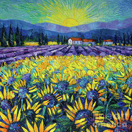 MAGIC OF PROVENCE - Sunflowers and Lavender - Palette knife painting Mona Edulesco by Mona Edulesco