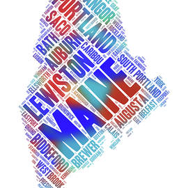 Maine Word Art State Map With Cities by Peggy Collins