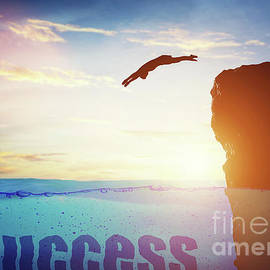 Man Jumping For A Success. Conceptual by Michal Bednarek