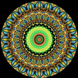 Mandala in Blue and Green by Grace Iradian