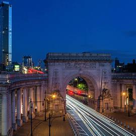 Manhattan Bridge at Night by Nancy Comley