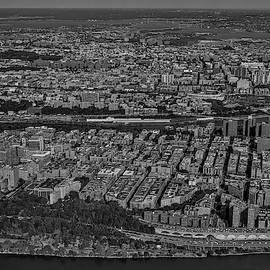 Manhattan Bronx Nyc Aerial Bw by Susan Candelario