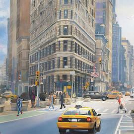 Manhattan City Scene With The Flatiron Building  by Dominique Amendola