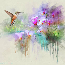 Mariposa Lilies With Hummingbird by R christopher Vest