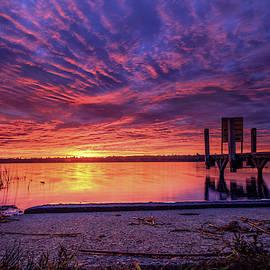 Marl Lake barn burner sunrise by Ron Wiltse